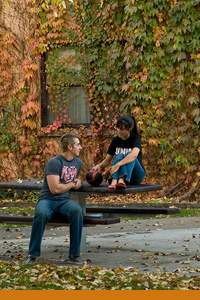 Students in Fall foliage